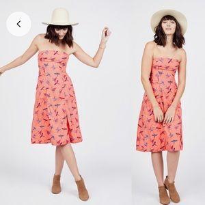 Free People strapless coral print midi dress 6